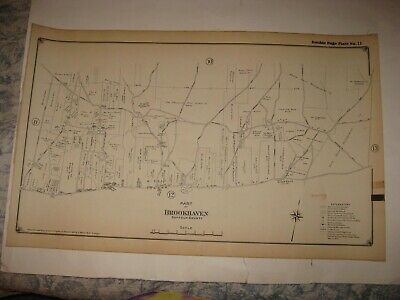 Antique 1917 Brookhaven Middle Island Ridgeville Suffolk County New York Map Nr