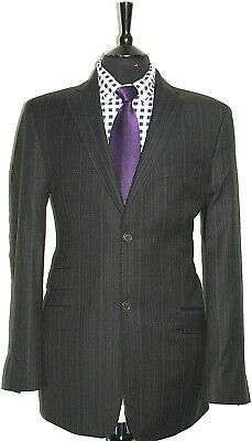 Luxury Mens Ted Baker Tailor Made Black Pinstripe Suit 42L W34 X L34