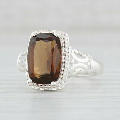 2.90ct Smoky Quartz Ring Sterling Silver Size 7.25 Solitaire Brown Stone