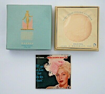 VINTAGE 1940's WOODBURY FACE POWDER ORIGINAL BOX RACHEL 1-1/4 oz MAKEUP NOS
