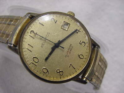 Vintage GOLD PL large antique Art Deco HELBROS AUTOMATIC mens watch