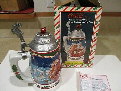 Vintage Rare Coca Cola Reward Stein Hinged Pewter Lid, Box, COA, 1999, Santa