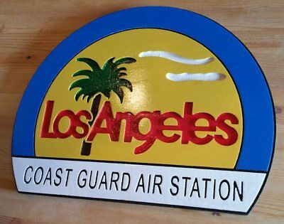 Los Angeles Coast Guard Air Station 3d routed wood patch plaque sign Carved