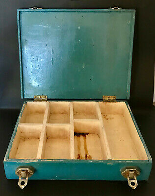 Vintage Wooden Compartment Tool Hinged Wood Carry Box