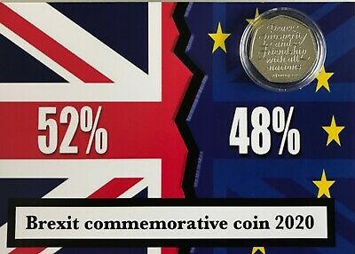 """COINS NOW IN STOCK Brexit result"""" 50P COIN mounted on unique background"""