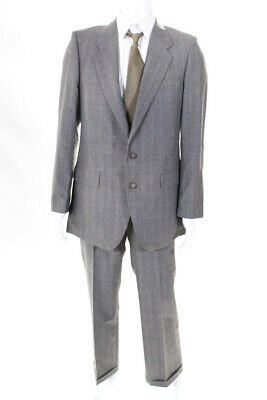 Yves Saint Laurent Mens Vintage Wool Two Button Blazer Pants Suit Gray Size 40