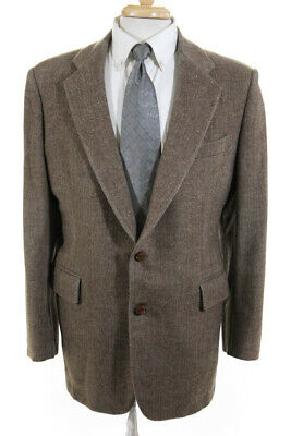 Bergdorf Goodman Mens Two Button Herringbone Suit Jacket Brown Size 38