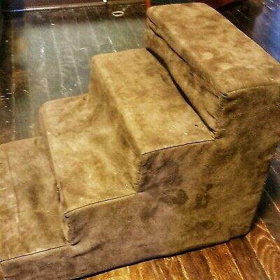 Dog Step Stool 4 Tiers Steps Brown Soft Suede Animal Pet Stairs Portable Assist