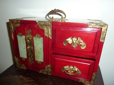Chinese 28 By 19Cm Red Paint Wood &Metal Table Jewellery Box With 4 Jade Inserts