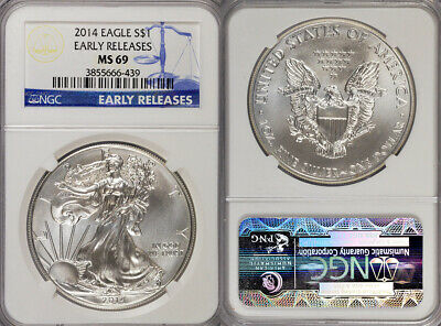 2014 Ngc Ms69 Early Releases 1Oz .999 Silver American Eagle $1 Coin! Gorgeous!