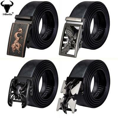 Animal Automatic Buckles Mens Belts Black Leather Ratchet Waistband Straps Gift