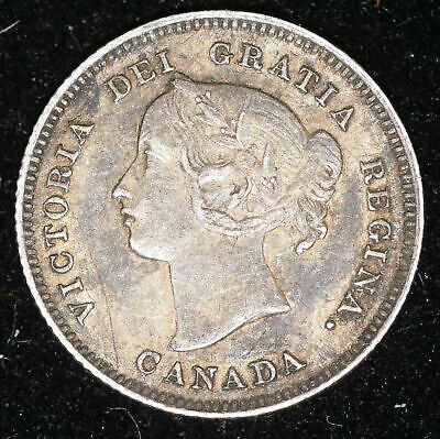 1900 Canada 5 Cent Silver Coin, Almost Uncirculated+ #Fc200259K