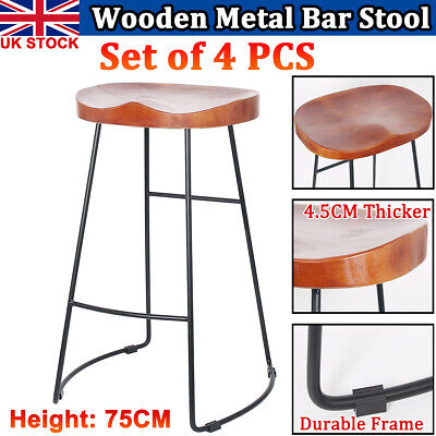 4X Vintage Industrial Wooden Metal Bar Stool Kitchen Pub Counter Retro Wood Seat