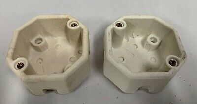 """2"" UNUSED Vtg Antique Octagon Porcelain Ceramic Electric Electrical Box (A5)"