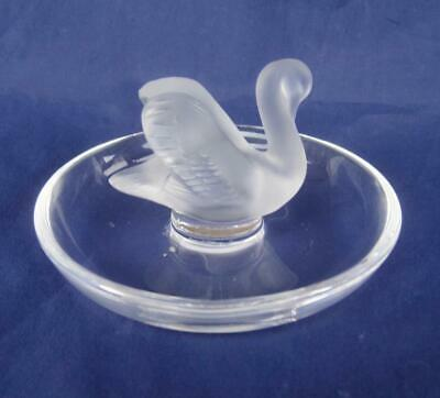 Lalique Crystal Swan Satin Frosted Ring Pin Jewelry Holder Signed France PRETTY