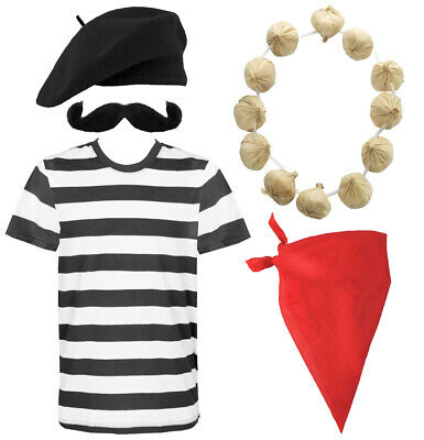 New FRENCH MAN Fancy Dress Costume FRANCE Waiter Frenchman Stag Party 4 PC Set