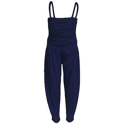 Kids Girls Jumpsuit Plain Navy Color Trendy Fashion All In One Jumpsuits 5-13 Yr