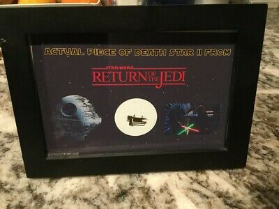 Star Wars Prop Screen Used piece of Death Star MOUNTED on 4x6 card with COA