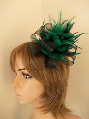 Black & Emerald Green Looped fascinator feathers hair clip brooch