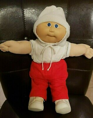 """1983 Cabbage Patch Baby Boy 15"""" Doll Winter Outfit Hat Diaper Shoes Clothes"""