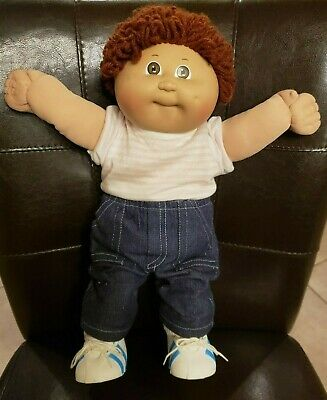 """1984 Cabbage Patch Kid 16"""" Doll Original Outfit Shirt Jeans Shoes Diaper Toddler"""