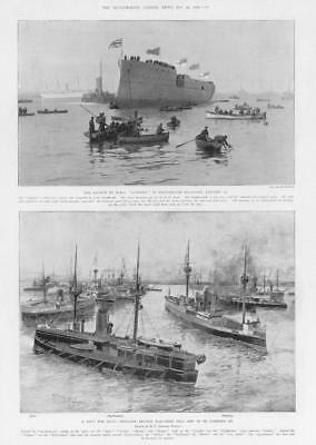 1903 Antique Print - HAMPSHIRE Portsmouth Dockyard Suffolk War-Ships Navy (172)