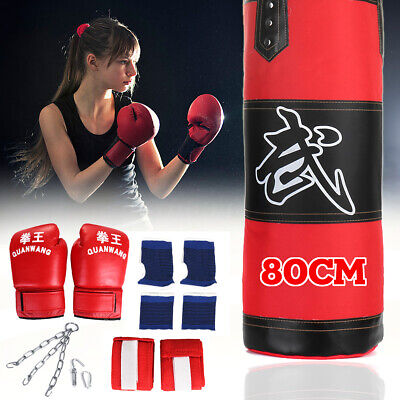 80CM 3ft Filled Heavy Punch Bag Chain Gloves Wraps Punchbag Kick Boxing