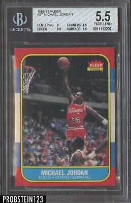 1986 Fleer #57 Michael Jordan Chicago Bulls RC Rookie HOF BGS 5.5 w/ 8.5
