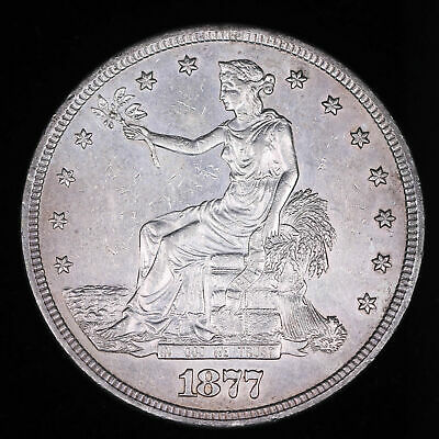 1877 S Trade Silver Dollar Coin Almost Unc++ #Td5476Cjr
