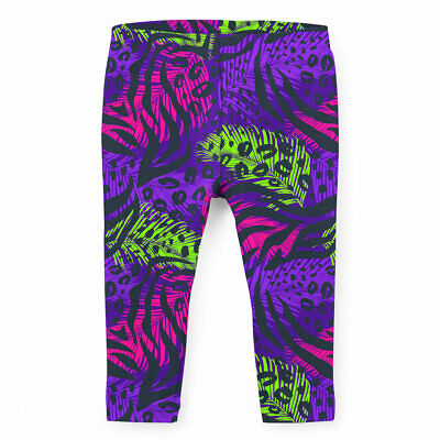 Kids Full Length Leggings - Neon Animal Print