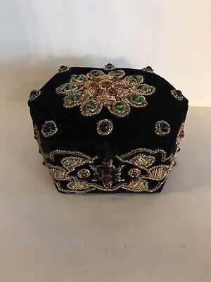 Black Velvet With Beads And Gold Embrodery Jewelry Or Trinket Box