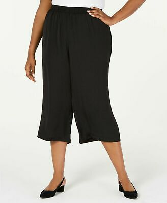 Alfani Plus Size Womens Pull On Stretch Jersey Culotte Crop Pants Black 3x f350