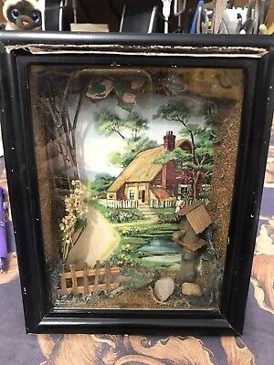 Vintage Wood Framed Shadow Box 3D Diorama Wall Picture Frame JAPAN Rare