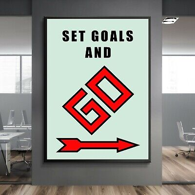 3 Piece Monopoly Wall Art Canvas Prints Office Decor Motivational Animation Sign
