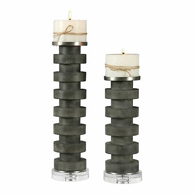 TWO STATELY CHARCOAL STAINED CONCRETE CANDLE HOLDER THICK CRYSTAL BASES