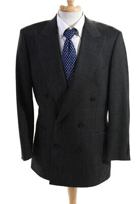 Paul Stuart Mens Double Breasted Button Up Blazer Suit Jacket Gray Size 41L