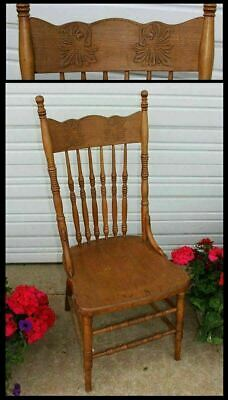 Antique Carved Leaf Wood Press Back Buckstaff - Edwards Chair Solid Seat Vintage