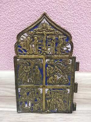 Antique 19th Russian Orthodox bronze icon enamel (Skladen)