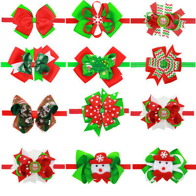 AM_ AC_ EG_ Christmas Baby Girls Bow Headband  Hairband Headwear Hair Accessory