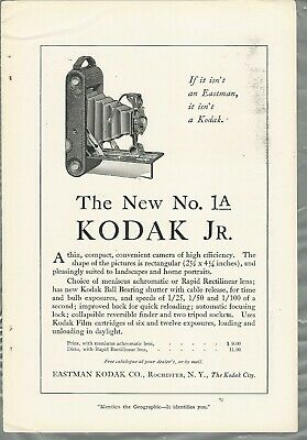 1914 KODAK advertisement, Kodak 1A folding camera, Kodak Jr.
