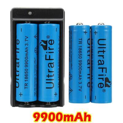 4X Rechargeable Batteries UltraFire 9900mAh 18650 Battery 3.7v Li-ion+Charger-