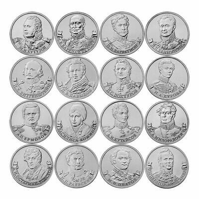 Russia 16 Pcs Full Set Coins, 2 Rubles 2012, Unc, General Heroes Of The War 1812