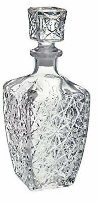 Vintage Liquor Bottle Decanter with Stopper Crystal look Stunningly Cut Glass
