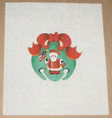 """Patriotic Santa Christmas Bell Ornament"" Handpainted Needlepoint Canvas"