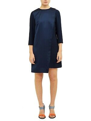 BNWT Ted Baker Maon Navy Col.by Numbers Dress Front Flap Size 2 (UK size 10 - 12