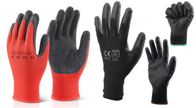 Selection of Red Latex Palm Dipped Poly Grip & Black Nylon PU Coated Work Gloves