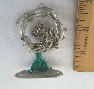 Pewter 5 Jumping Dolphin Circle With MERMAID Figurine