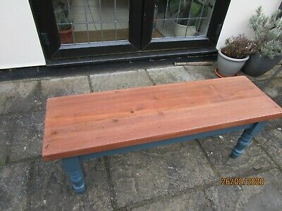 Vintage Solid Pine Victorian Farmhouse Style Bench with Turned Legs