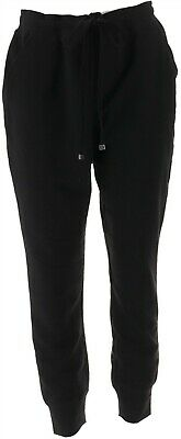 Isaac Mizrahi SOHO Space Dye Cargo Jogger Pants Black L NEW A305203