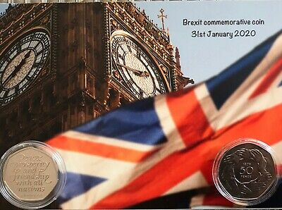 1973 and 2020  Join EU/ Brexit 50P coins mounted on BIG BEN BREXIT background